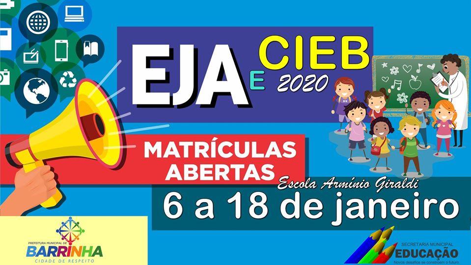 𝐌𝐀𝐓𝐑Í𝐂𝐔𝐋𝐀𝐒 𝐀𝐁𝐄𝐑𝐓𝐀𝐒 EJA e CIEB para 2020