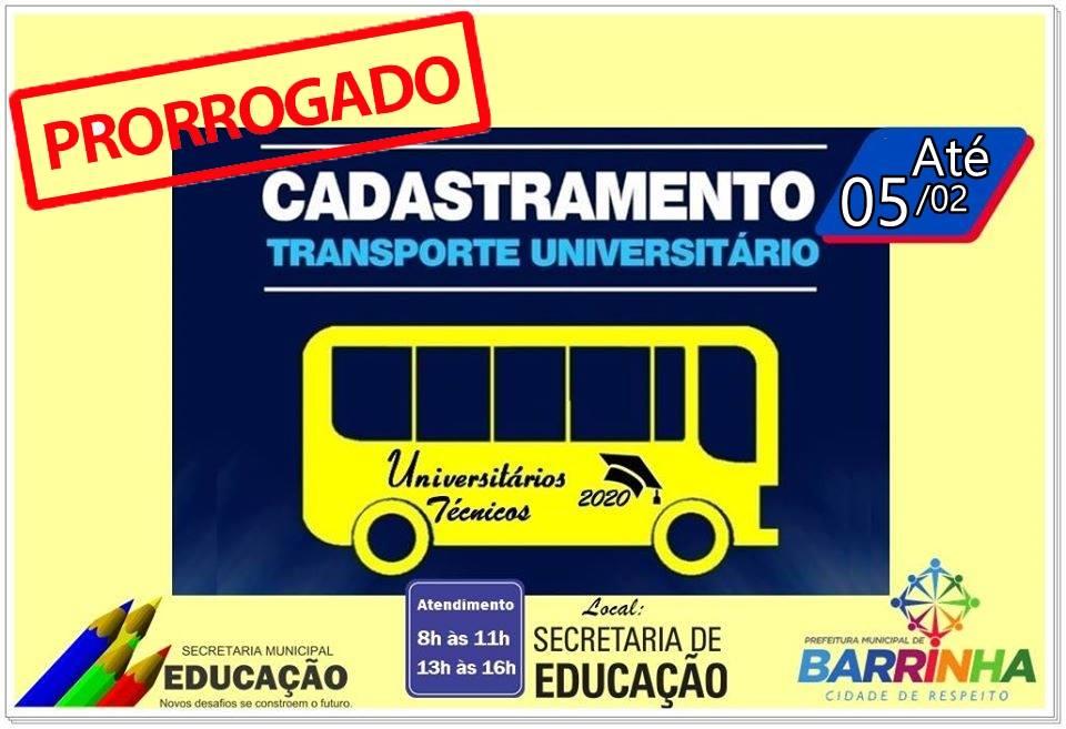 𝐂𝐎𝐌𝐔𝐍𝐈𝐂𝐀𝐃𝐎 𝐈𝐌𝐏𝐎𝐑𝐓𝐀𝐍𝐓𝐄 TRANSPORTE UNIVERSITÁRIO E TÉCNICO PRORROGADO PRAZO ATÉ 05/02