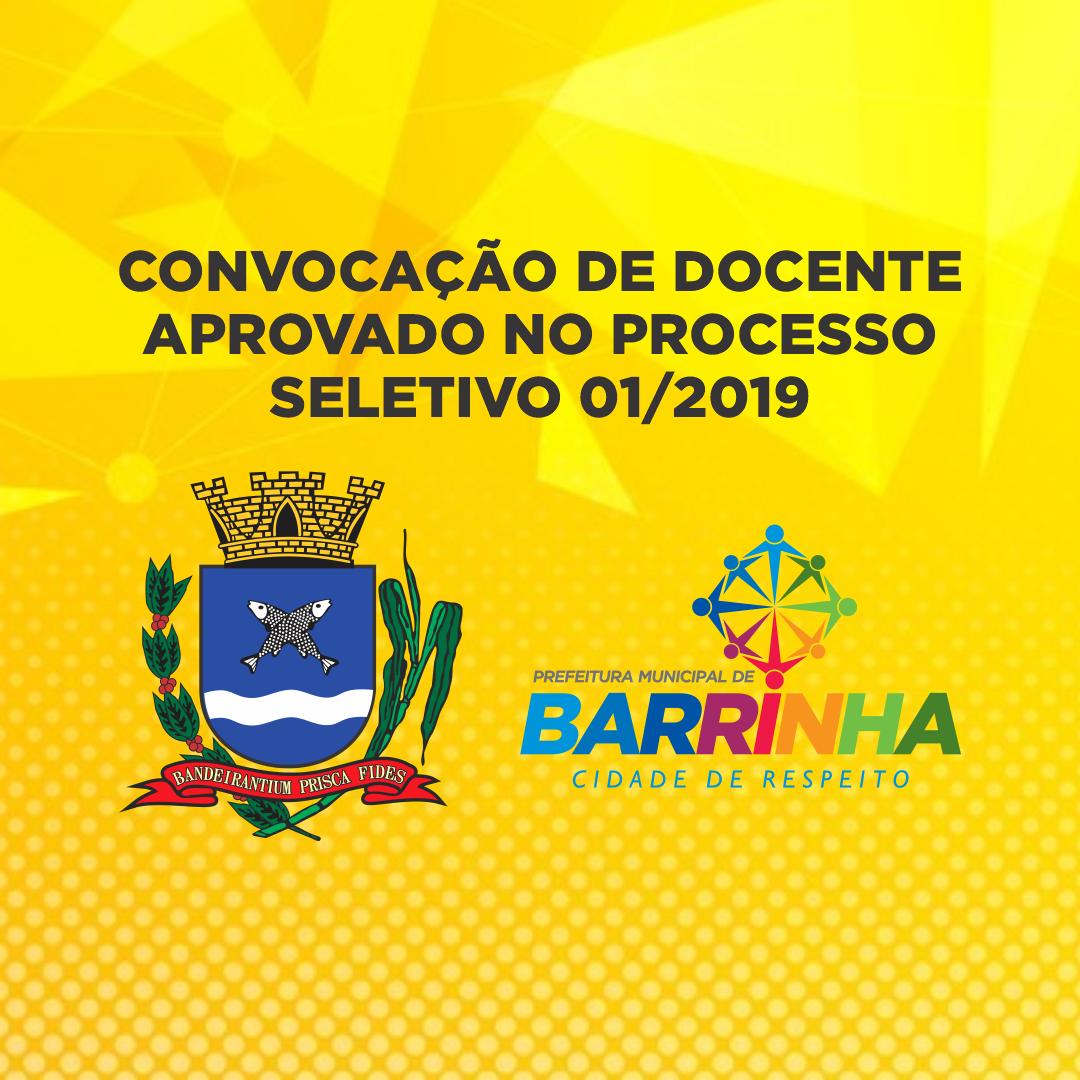 <CENTER>CONVOCAÇÃO DE DOCENTE APROVADO NO PROCESSO SELETIVO 01/2019</CENTER>