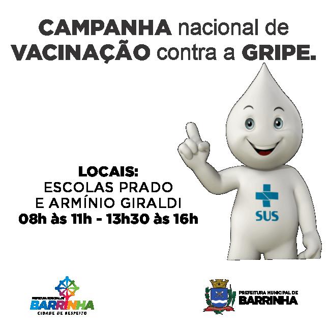 CAMPANHA DE VACINAÇÃO CONTRA GRIPE COMEÇA NESTA SEGUNDA EM BARRINHA