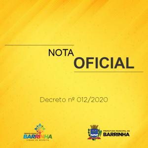 NOTA OFICIAL – PREFEITURA DE BARRINHA