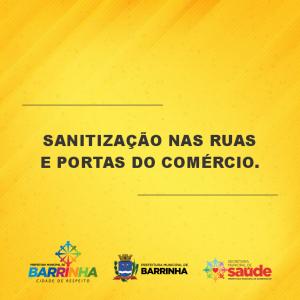 PREFEITURA DE BARRINHA PROMOVE TRABALHO DE SANITIZAÇÃO NAS RUAS E PORTAS DO COMÉRCIO.