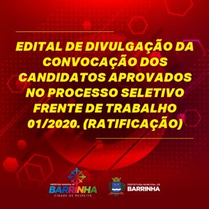 FRENTE DE TRABALHO 01/2020 (RATIFICAÇÃO)