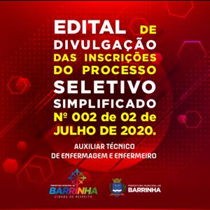EDITAL FINAL DE DIVULGAÇÃO DAS INSCRIÇÕES DO PROCESSO SELETIVO SIMPLIFICADO Nº 002, DE 02 DE JULHO DE 2020.