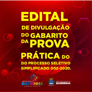 Edital de Divulgação do Gabarito da Prova Prática do Processo Seletivo Simplicado 002/2020.