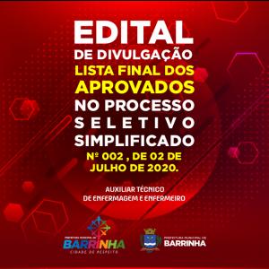 EDITAL DE DIVULGAÇÃO DA LISTA FINAL DOS APROVADOS NO PROCESSO SELETIVO SIMPLIFICADO Nº 002, DE 02 DE JULHO DE 2020.