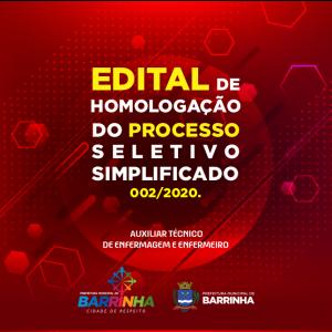 EDITAL DE HOMOLOGAÇÃO