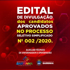1º Edital de Divulgação da Convocação dos Candidatos aprovados no Processo Seletivo Simplificado 02/2020 de Enfermeiro.