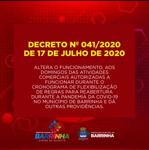 DECRETO Nº 041/2020 DE 17 DE JULHO DE 2020